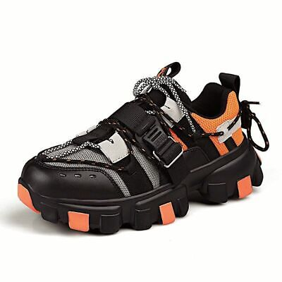 men chunky shoes casual fashion breathable black dad