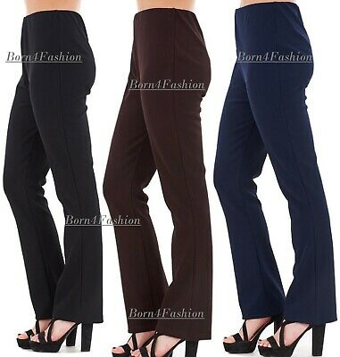 LADIES PACK OF 2 BOOTLEG STRETCH FINELY RIBBED TROUSERS BLACK SIZE 8-26