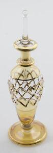 Flachmann Fläschchen A Parfüm Öl Gläser Mundgeblasen D'Ägypten 14.5cm Gold Gelb