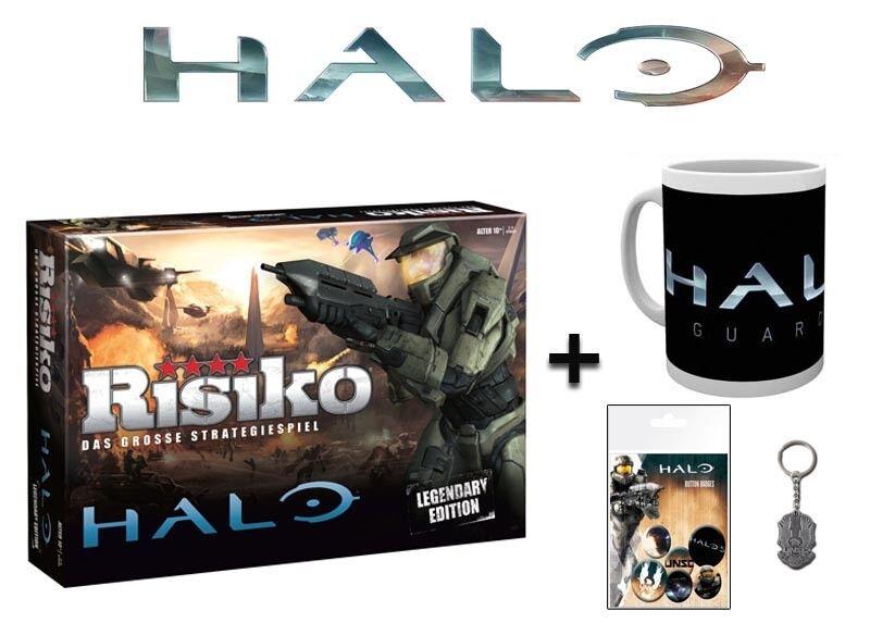 Risiko Halo Spiel Brettspiel + Zusatzartikel Tasse Schlüsselanhänger Buttons NEU