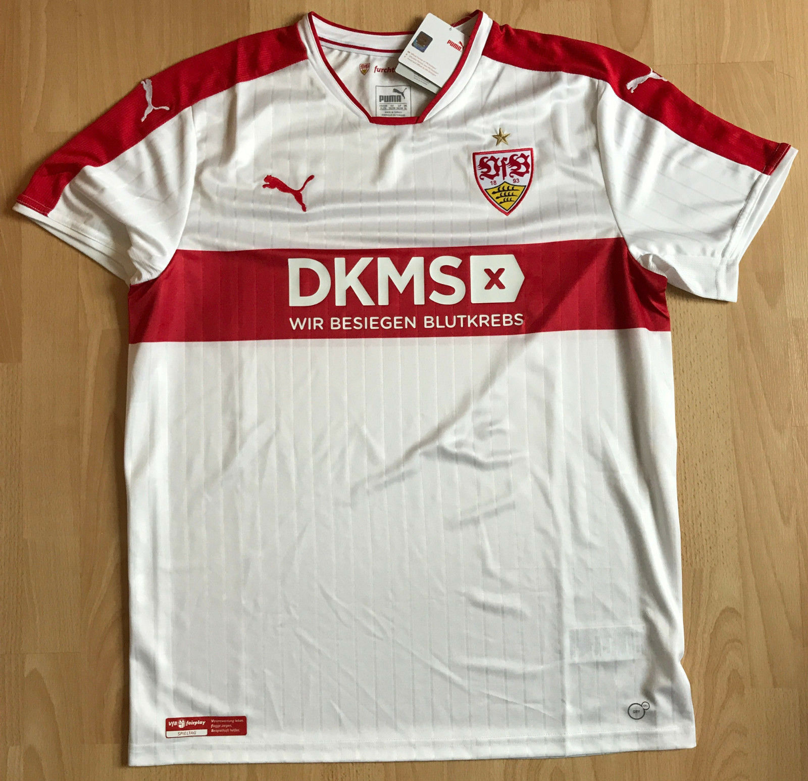 VfB Stuttgart Sondertrikot DKMS Benz, wie Gelb Strom, Mercedes Benz, DKMS Südmilch, UR b1628a