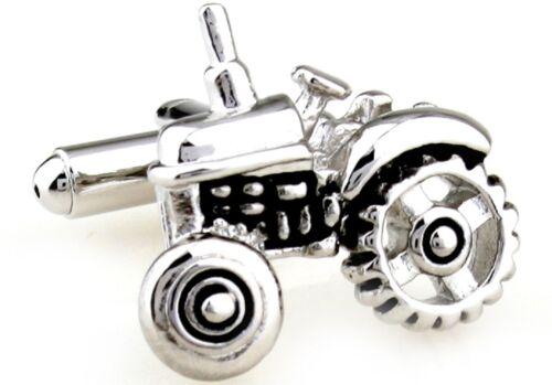 Tractor Silver Black Cufflinks Wedding Fancy Gift Box Free Ship USA