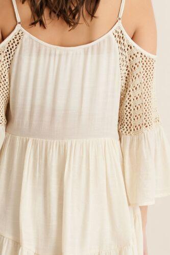 BOHEMIAN GYPSY CROCHET COLD SHOULDER TUNIC DRESS