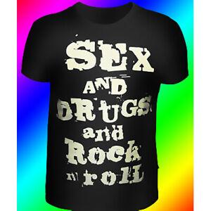 Herren-T-Shirt-034-Sex-Drugs-and-Rock-n-Roll-034-mit-Druck-UV-aktiv-Neon-PSY
