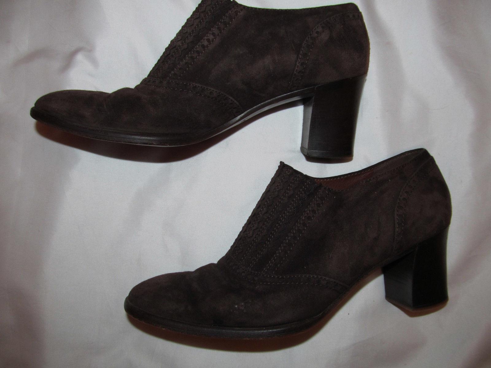 DIEGO DELLA VALLE dark brown suede ankle designer booties shoes 7 ITALY