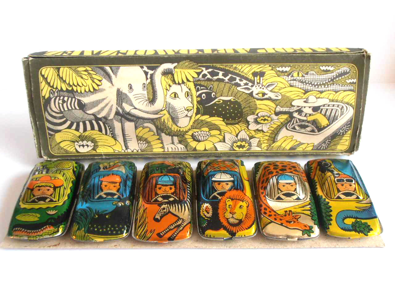 1980s USSR Russian Soviet Toy Tin CARS Set of 6   TOURIST