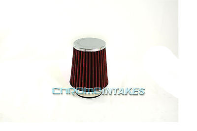 "RED 1989 UNIVERSAL 64mm 2.5/"" Chrome Top Rubber Bottom AIR INTAKE FILTER"
