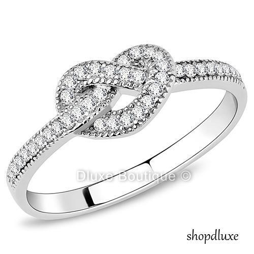 Women's Girls Infinity Knot CZ Stainless Steel Love Promise Fashion Ring Sz 5-10