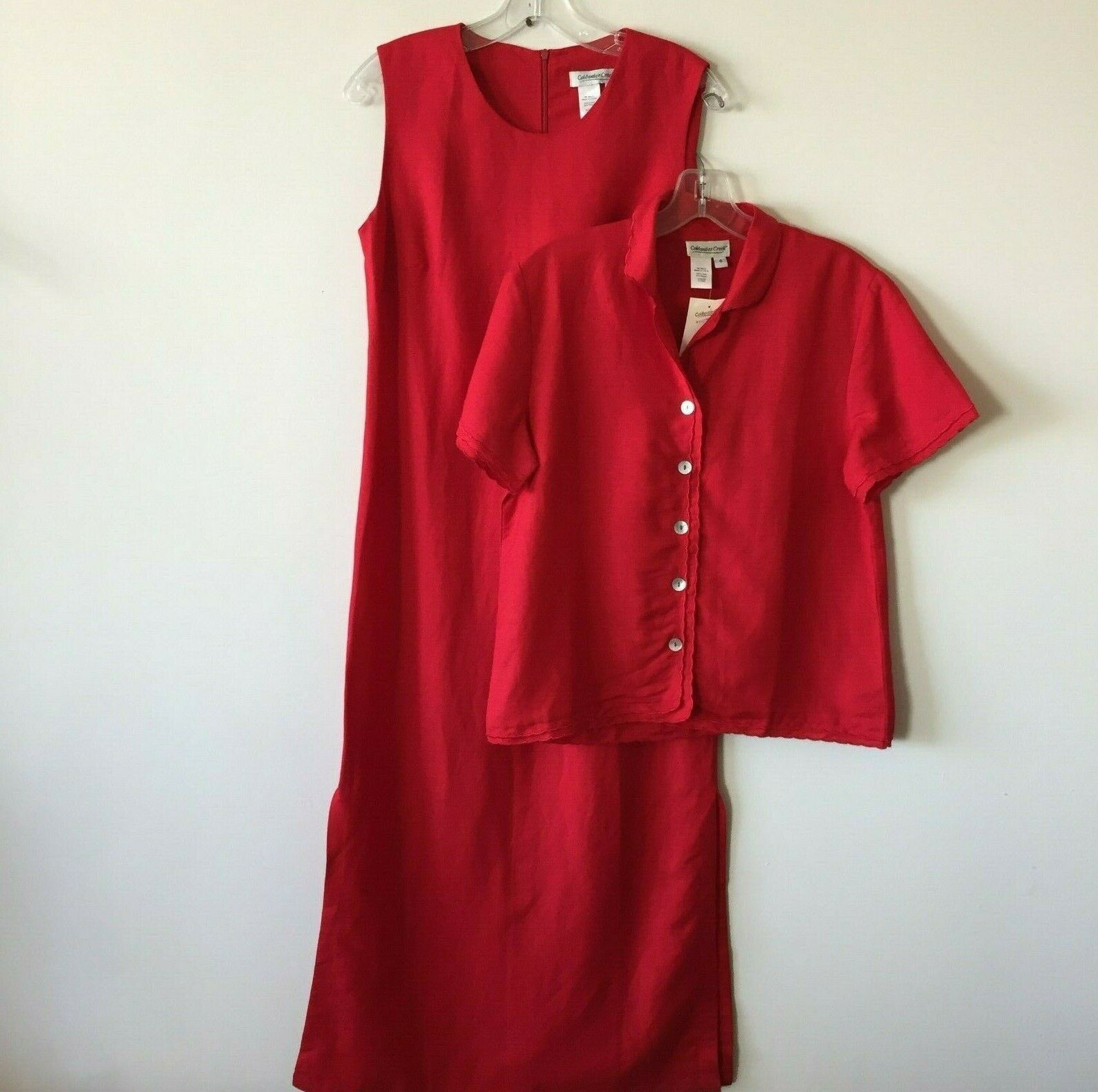 Coldwater Creek 2 Piece Maxi Dress and Short Sleeve Jacket Set rot 6 NWT