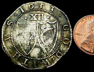 S771-1653-Cromwell-039-s-Commonwealth-Hammered-Silver-Shilling-no-stops-at-Sun