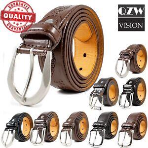 Men-039-s-Classic-Metal-Buckle-Genuine-Leather-Dress-Jeans-Belts-Causal-Black-Brown