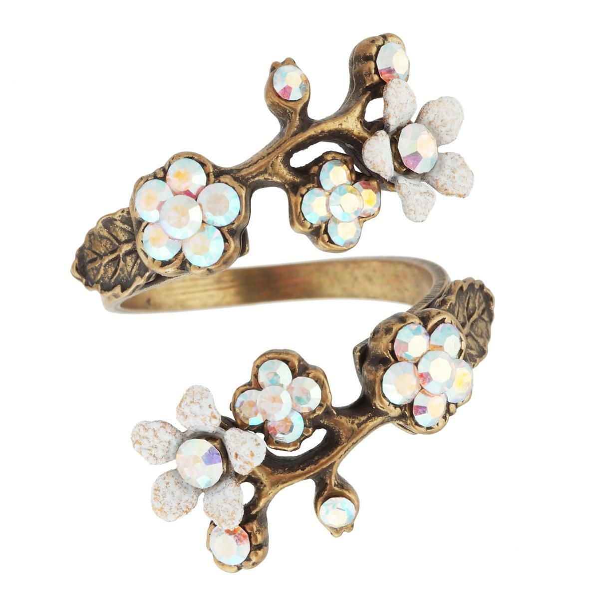 Michal Negrin Flowers Spiral Ring 11057 Wrap White Brass