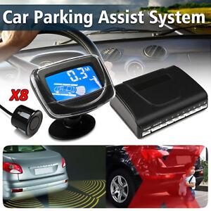 Parking-8-Sensors-Car-Reverse-Backup-Rear-Buzzer-Radar-System-Alarm-w-Monitor