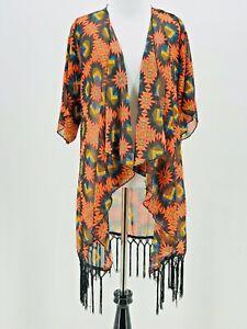 Lularoe-WOMEN-039-S-orange-Geometrico-Stampa-Cascata-Frangia-Kimono-MONROE-Taglia-Small