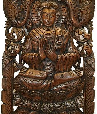 Teak Wood Buddha Wall Art Sculpture ~ Hand-Carved Wood ...