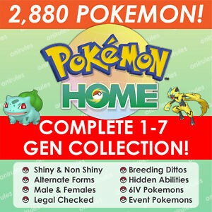 Pokemon Home Complete Pokedex From Gen 1-7 , All Forms, All Legends, 800+ Events