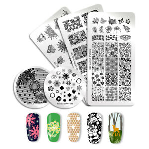 NICOLE-DIARY-Nail-Stamping-Plates-Stainless-Steel-Nail-Art-Flower-Image-Template