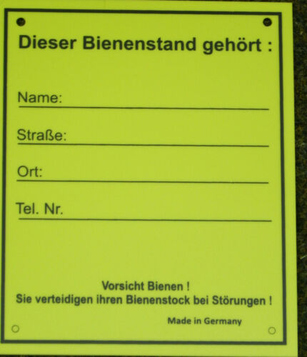Schild f.Bienenstand,groß,Warnschild,m.Adressfeld,Imker,Imkerei,bee 18x21,5cm