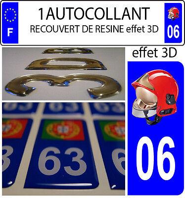 1 sticker plaque immatriculation auto DOMING 3D RESINE CASQUE F1 POMPIER DEPA 33