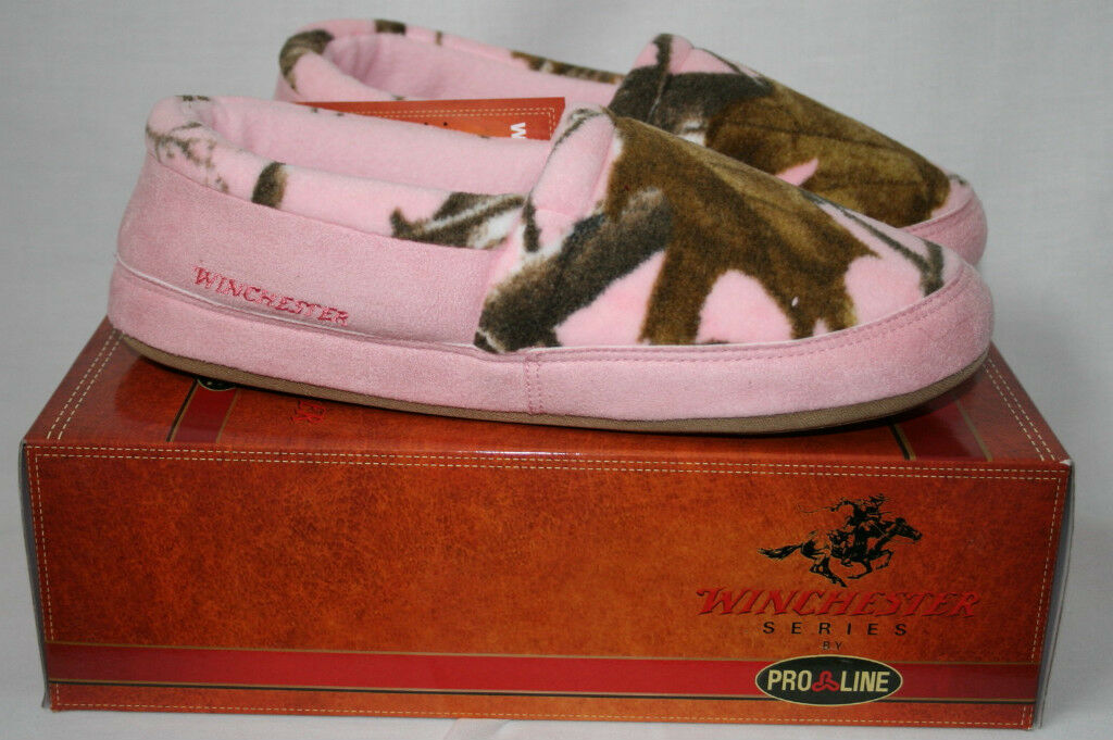Winchester Pink Camo Slippers, Ladies Camouflage House Shoes