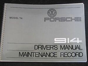 new nos 1974 porsche 914 owners manual book drivers handbook genuine rh ebay com 1976 porsche 914 owners manual porsche 914 owners manual download