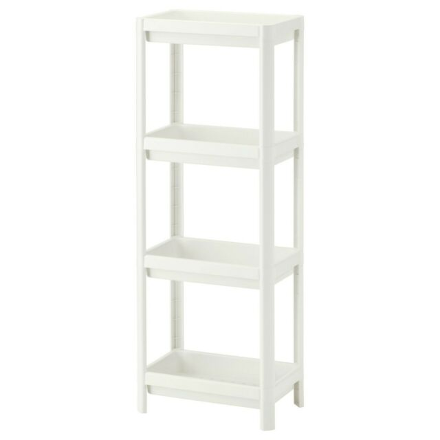 new style 887d6 92cdc IKEA VESKEN 4-Tier Bathroom Shelf Unit Small Storage White