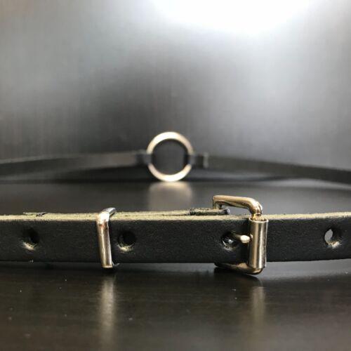 Black O-Ring Ladies Skinny Thin Dress Tunic Jumper Real Leather Belt Size Large