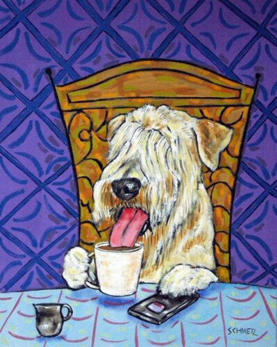 Soft Coated Wheaton Terrier coffee dog 8x10  art print animals gift new