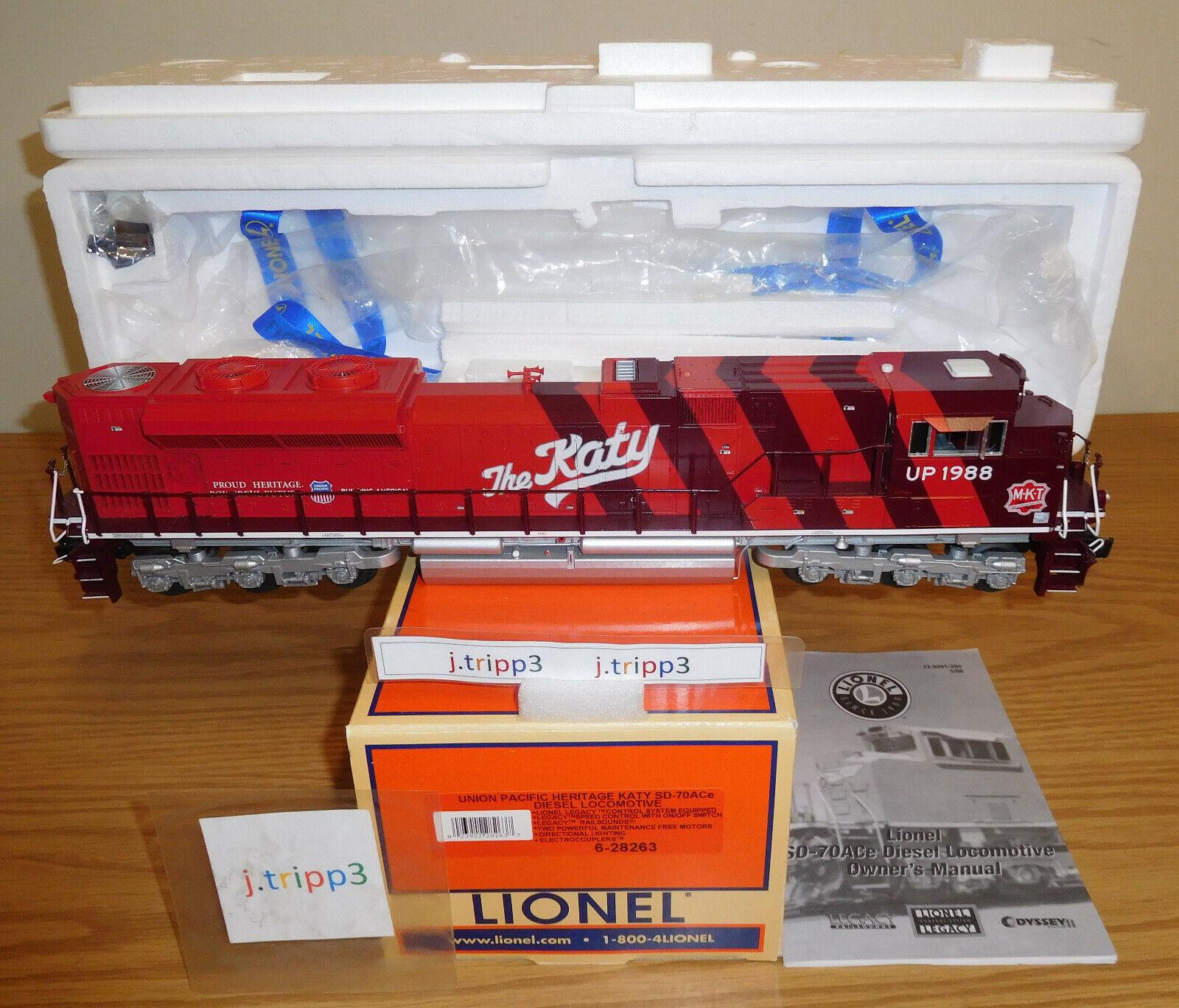 Lionel 28263 MKT Katy Up Heritage SD70AC Legacy o escala Locomotora Diesel Motor