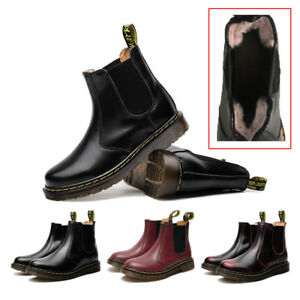 Women-Casual-Ankle-Chelsea-Boots-Fashion-Fur-Lined-Flat-Motorcycle-Leather-Shoes