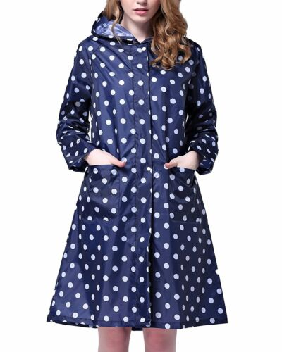 Womens Polka Dot Water Proof Long Raincoat Hooded Rain Cape Coat UK STOCK New