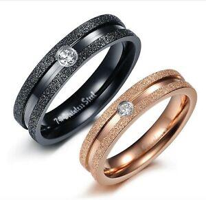 Coppia-Fedine-Nero-Oro-Rosa-brillantini-Anello-Uomo-Donna-incisioni-Fidanzamento