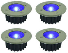 4x BLUE STAINLESS STEEL LED SOLAR POWERED GARDEN DECK/PATH/KITCHEN DECK LIGHTS