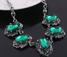 N072 Victorian Gothic Emerald Green Gorgeous Necklace Stone Statement Bib Collar