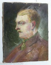 Ancienne huile sur toile portrait d'homme, non signé a identifier oil on canvas