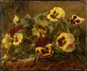 Henri Fantin Latour Pansies Poster Reproduction Paintings Giclee Canvas Print