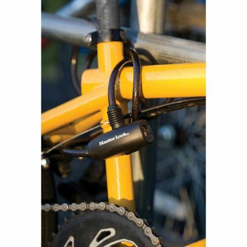Master Lock Candado de Cable 1,8m x 8mm Acero Set Antirrobo Bicicleta Seguridad
