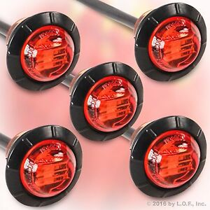 """5 Red 3/4"""" Marker Lights Triple Diode LED Truck Trailer Clearance Indicator New"""