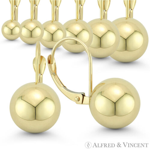 4mm to 10mm Polished Hollow Ball Bead Leverback Drop Earrings in 14k Yellow Gold