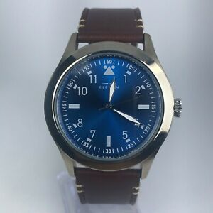 Elevon-Mens-Blue-Dial-Brown-Leather-Band-Quartz-Wrist-Watch