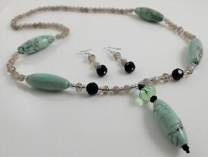 Tianshan Lan Jasper Gemstone Y- Necklace & Dangle Earrings Set