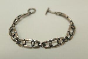 Gorgeous-Vintage-925-Sterling-Silver-MEXICO-7-034-Toggle-Clasp-Bracelet-19-5g-K