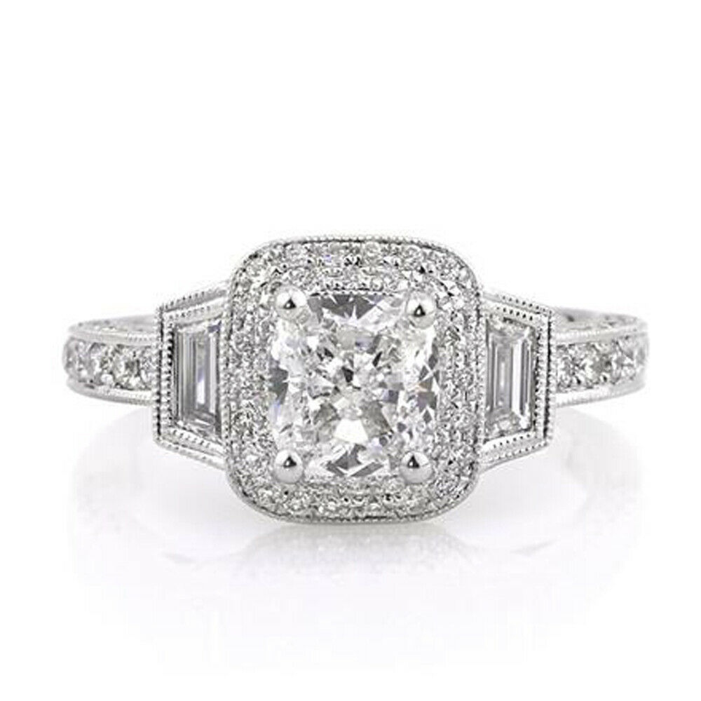 2.40 Carat Cushion Diamond Anniversary Ring 14K White gold Rings Size 5 5.5 6 7