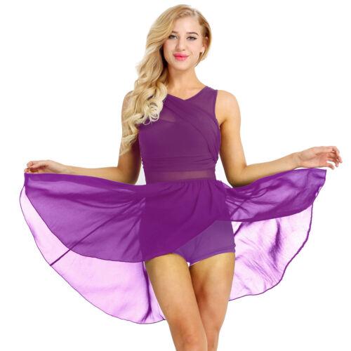 Women Ballet Dance Chiffon Costume Leotard Dress Ice Skating Adult Mesh Skirts