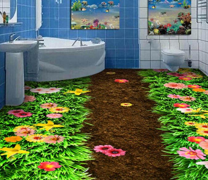 3D Flower Grassland Path Floor WallPaper Murals Wall Print Decal 5D AJ WALLPAPER