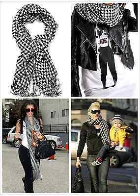 UK Women Wool Dogtooth Houndstooth or Plaid Large Warm Scarf Pashmin Wrap Shawl