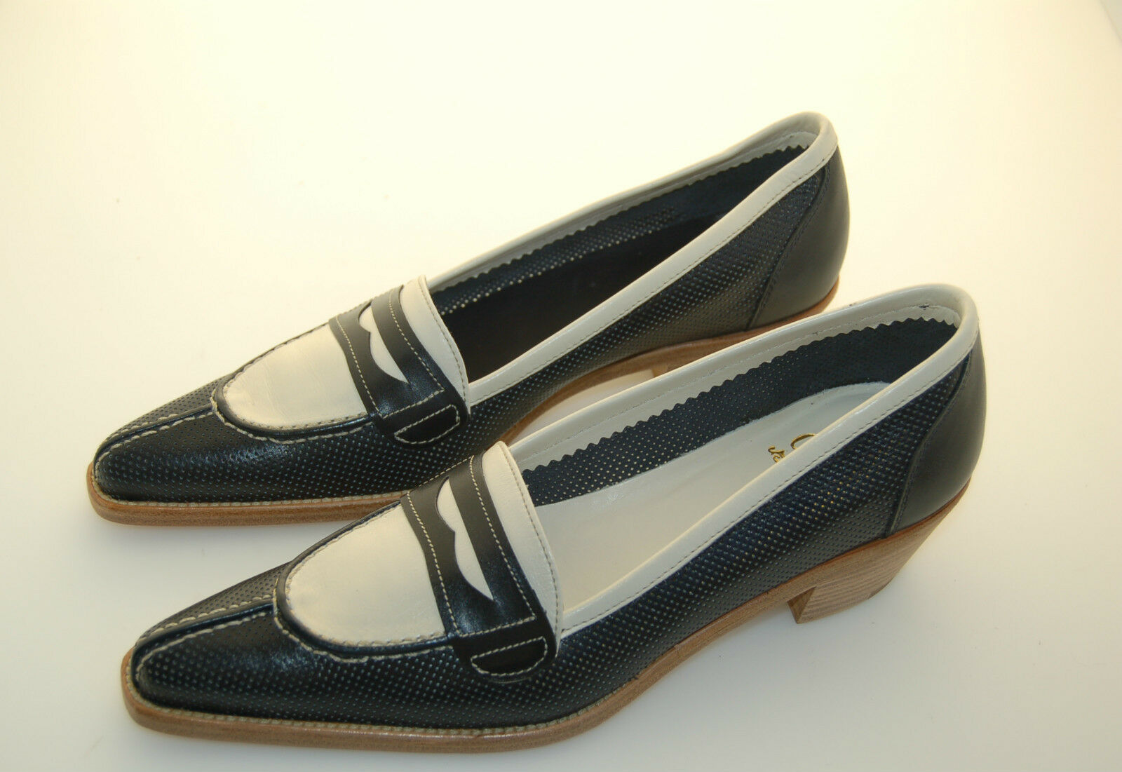 WOMAN - 37 - PENNY LOAFER - MOCASSINO - PERFORED BLU CALF+ WHITE CALF - LTH SOLE