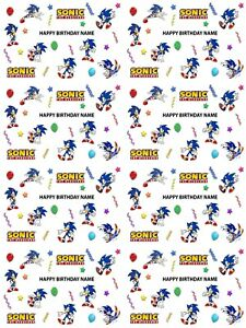 Sonic The Hedgehog Personalised Birthday Wrapping Paper Add Name Pick Background Ebay
