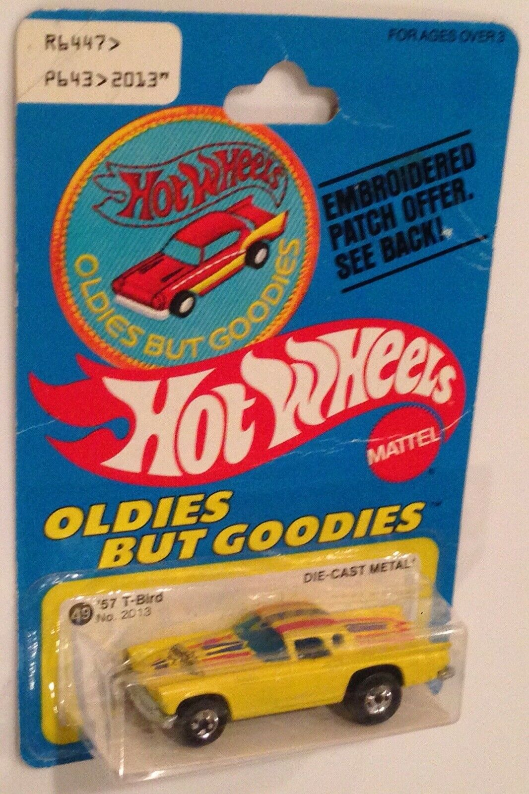 MOC 1978 Hot Wheels Oldies But Goodies RARE Patch Card yellow '57 Ford T-Bird