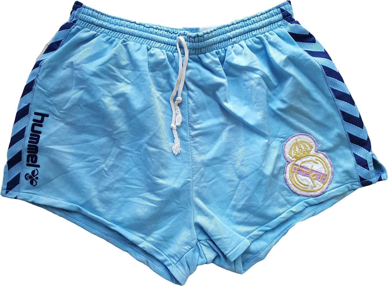 Real madrid match  worn 1985-90 Hummel shorts football shiny vintage gay sprinter  descuento de ventas en línea